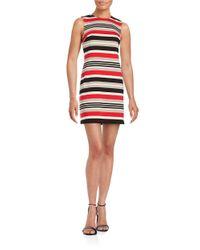 Calvin Klein   Red Striped Shift Dress   Lyst