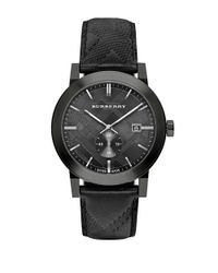 Burberry | Black Ionic Plated Stainless Steel & Leather Chronograph Watch for Men | Lyst