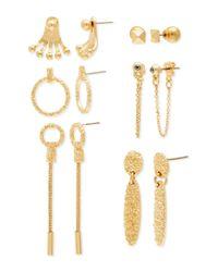 Steve Madden | Metallic Multi-geo Shape & Balls 6-pair Earring Set | Lyst