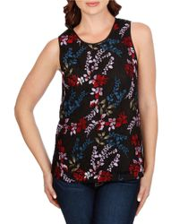 Lucky Brand   Black Floral Sleeveless Top   Lyst
