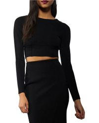 Kendall + Kylie | Black Solid Long Sleeve Cropped Top | Lyst