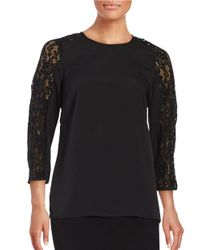 Lord & Taylor | Black Judy Lace Steeve Blouse | Lyst