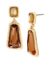 Robert Lee Morris | Brown Faceted Stone Double Drop Goldtone Earrings | Lyst