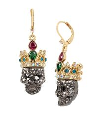 Betsey Johnson | Metallic Skeletons After Dark Two-toned Pave Crowned Skull Drop Earrings | Lyst