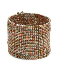 Panacea | Metallic Multi-row Beaded Cuff Bracelet | Lyst