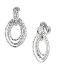 Anne Klein | Metallic Silvertone Concentric Hoop Drop Earrings | Lyst