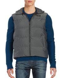 Michael Kors | Gray Melange Down Hooded Vest for Men | Lyst