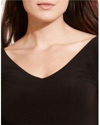 Lauren by Ralph Lauren Black Plus Fit-and-flare Jersey Dress