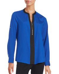 Calvin Klein | Blue Contrast Crepe Blouse | Lyst