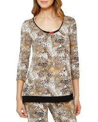Ellen Tracy - Natural Printed Long Sleeve Top - Lyst