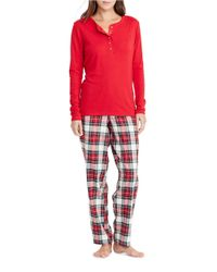 Lauren by Ralph Lauren | Red Henley Top And Brushed Twill Pants Pajama Set | Lyst