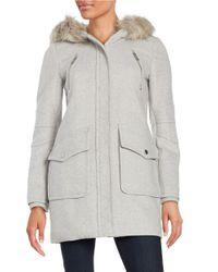 BCBGeneration | Gray Faux Fur Trimmed Duffle Coat | Lyst