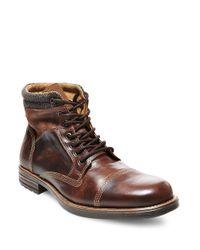 Steve Madden Brown Gunison Leather Boots for men