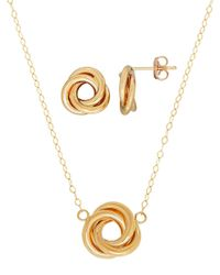 Lord & Taylor | Metallic Two Piece 14k Yellow Gold Love Knot Postback Earrings And Necklace Set | Lyst