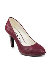 Anne Klein | Red Lolana Snakeskin Patterned Leather Pumps | Lyst