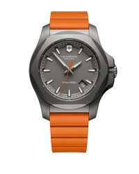 Victorinox | Orange Round Rubber Strap Analog Watch for Men | Lyst