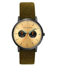 Ted Baker | Brown Brit Round Leather Strap Analog Watch for Men | Lyst