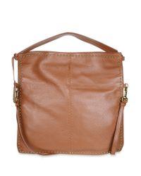 Badgley Mischka | Brown Zoe Leather Studded Hobo Bag | Lyst