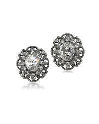 ABS By Allen Schwartz | White Black Magic Crystal Openwork Stud Earrings | Lyst