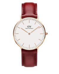 Daniel Wellington | Red Classic Suffolk Rose Gold And Leather Strap Watch, 36mm | Lyst