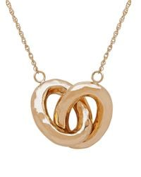 Lord & Taylor - Metallic 14k Gold Interlocked Double Oval Hollow Pendant Necklace - Lyst