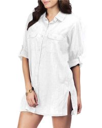 Lauren by Ralph Lauren | White Crushed Cotton Cover Up Camp Shirt | Lyst