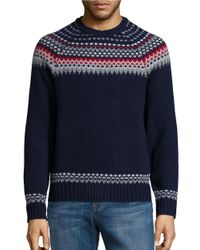 Brooks Brothers Red Fleece | Blue Wool-blend Crewneck Sweater for Men | Lyst