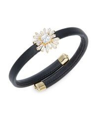 R.j. Graziano | Metallic Stone-accented Floral Faux Leather Bracelet | Lyst