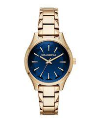 Karl Lagerfeld | Metallic Belleville Goldtone Stainless Steel Bracelet Watch Kl1628 | Lyst