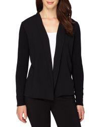 Tahari - Black Solid Open Front Jacket - Lyst