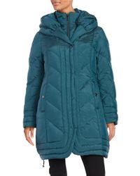 Gallery | Blue Hooded Down Coat | Lyst