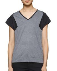 Calvin Klein | Gray Mixed Media V-neck Tee | Lyst