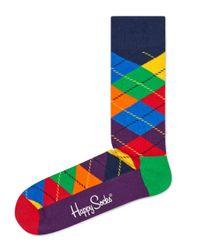 Happy Socks | Green Argyle Crew Socks for Men | Lyst