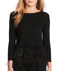 Polo Ralph Lauren | Black Feather-trimmed Merino Wool Sweater | Lyst