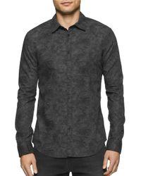 Calvin Klein Jeans | Gray Point Collar Botanical Camo Print Shirt for Men | Lyst
