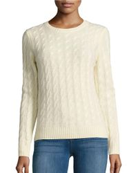 Lord & Taylor   Natural Petite Cable Knit Cashmere Sweater   Lyst