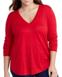 Lauren by Ralph Lauren | Red Plus Silk-blend V-neck Sweater | Lyst
