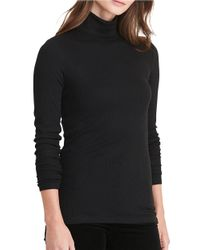Lauren by Ralph Lauren | Black Petite Ribbed Jersey Turtleneck | Lyst