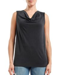 Three Dots | Black Solid Cowlneck Top | Lyst