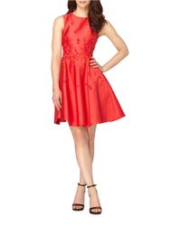 Tahari | Red Sleeveless Fit-and-flare Beaded Dress | Lyst