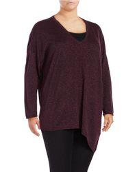 NYDJ   Purple Plus Metallic V-neck Asymmetrical Sweater   Lyst