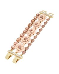 Betsey Johnson | Pink Flower Multi-row Toggle Bracelet | Lyst