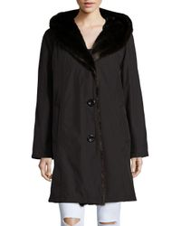 Gallery - Black Faux Fur-accented Rain Coat - Lyst