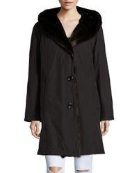 Gallery - Black Faux Fur-accented Rain Coat - Lyst