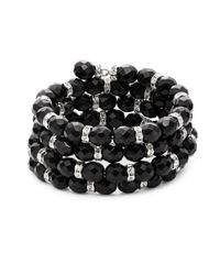 Kenneth Jay Lane | Black Beaded Rhondell Coil Bracelet | Lyst