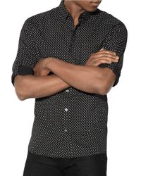 John Varvatos | Black Skull And Bone Printed Cotton Shirt for Men | Lyst