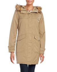 Ellen Tracy | Brown Techno Faux Fur Hooded Parka Jacket | Lyst