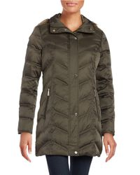 Kenneth Cole | Green Quilted Faux Fur-trim Hooded Jacket | Lyst