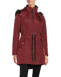 Jessica Simpson | Red Faux Fur Trimmed Water Resistant Hooded Parka | Lyst