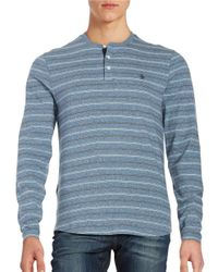 Original Penguin | Blue Striped Henley Tee for Men | Lyst